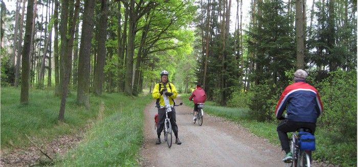 Riding near Rožmberk Pond which is north of Třeboň. The gravel roads are  well compacted and no problem for a sturdy bike with moderately wide tires. f3f3178a6
